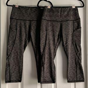2 pairs! Gray capri yoga pants with pockets, sz S